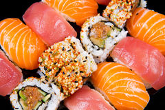 Sushi and rolls. Some colored sushi and rolls Royalty Free Stock Photography