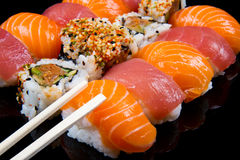 Sushi and rolls. Some different type of sushi and rolls Stock Photography
