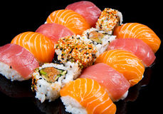 Sushi and rolls. Some fresh sushi and rolls Stock Photography