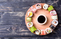 Sushi rolls with soy sauce Stock Photo