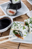 Sushi rolls with sticks and Soy Sauce Royalty Free Stock Photography