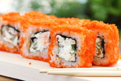 Sushi rolls on the table Royalty Free Stock Images