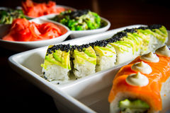 Sushi rolls table setting Royalty Free Stock Images