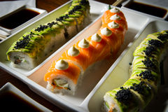 Sushi rolls table setting Royalty Free Stock Photography