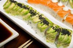 Sushi rolls table setting Royalty Free Stock Photos