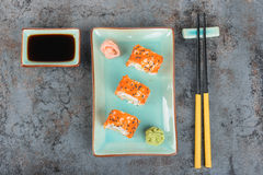 Sushi rolls on the table. Top view. Royalty Free Stock Images