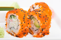 Sushi rolls with tobico Royalty Free Stock Photos
