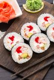 Sushi rolls with tobiko and shrimps Royalty Free Stock Photos