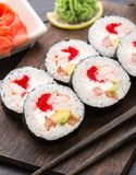 Sushi rolls with tobiko and shrimps Royalty Free Stock Images