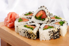 Sushi rolls with tuna. And green onion Royalty Free Stock Photos