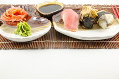 Sushi rolls with tuna and eel background Stock Photography