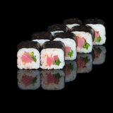 Sushi rolls with tuna and green onions Stock Image