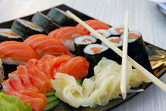 Sushi rolls. With vassabi on the plate Royalty Free Stock Photography