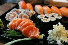 Sushi rolls with vassabi. On the plate Royalty Free Stock Photo