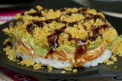 Sushi rolls with vassabi on the plate. Close-up Royalty Free Stock Photography