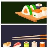 Sushi rolls vector food banner japanese gourmet seafood traditional seaweed fresh raw food vector illustration. Asian cuisine restaurant wasabi delicious asia vector illustration