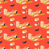 Sushi rolls vector food and japanese gourmet seafood traditional seaweed fresh raw snack illustration seamless pattern. Sushi rolls vector food and japanese stock illustration