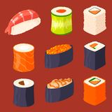Sushi rolls vector food and japanese gourmet seafood traditional seaweed fresh raw snack illustration. Sushi rolls vector food and japanese gourmet seafood Royalty Free Stock Photography