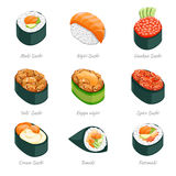 Sushi rolls vector icons Royalty Free Stock Images