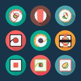 Sushi and rolls vector icons Royalty Free Stock Image