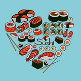 Sushi and rolls, vector illustration Royalty Free Stock Photos