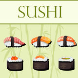 Sushi and rolls. Vector template Royalty Free Stock Photography