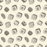 Sushi and rolls vintage seamless pattern on a wrapping paper, Japanese food vector monochrome backround illustration. Sushi and rolls vintage seamless pattern Stock Photo