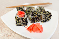 Sushi rolls,wasabi and ginger on  plate Stock Photography