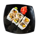 Sushi rolls on a white Royalty Free Stock Image