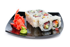 Sushi rolls on a white Stock Images