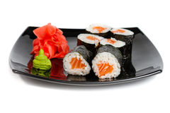 Sushi rolls on a white Royalty Free Stock Photos