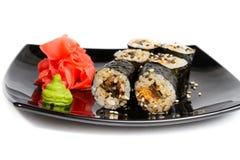 Sushi rolls on a white Stock Image