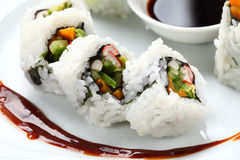 Sushi rolls in a white plate Stock Photography