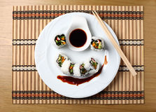 Sushi rolls in a white plate.  Royalty Free Stock Photos