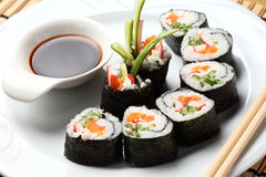 Sushi rolls in a white plate.  Royalty Free Stock Photo