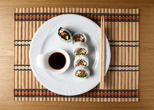 Sushi rolls in a white plate.  Royalty Free Stock Photography