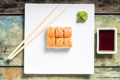 Sushi rolls in white plate Royalty Free Stock Images