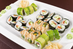 Sushi rolls on white plate Royalty Free Stock Image