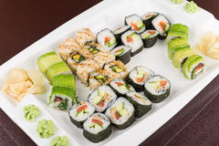 Sushi rolls on white plate Stock Images