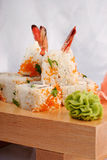 Sushi rolls wish shrimp and caviar. Closeup Stock Image