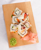 Sushi rolls wish shrimp and caviar. Sushi rolls with shrimp and caviar. Top view Royalty Free Stock Image