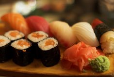 Sushi and  rolls Royalty Free Stock Images