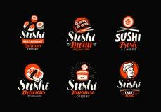 Sushi, rolos, grupo japonês do alimento de logotipos ou etiquetas Ilustração do vetor Fotografia de Stock