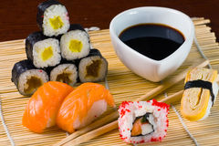 Sushi in row Stock Images