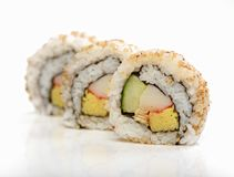 Sushi. In row isolated on white background Royalty Free Stock Photos