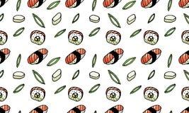 Sushi rullar, sömlös modell för havsväxtklotterstil asiatisk kokkonst vektor illustrationer