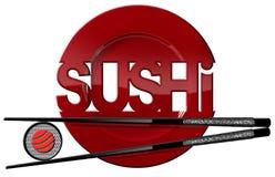 Sushi - símbolo con la placa y los palillos Imágenes de archivo libres de regalías