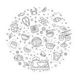 Sushi, símbolos del esquema de los mariscos Ilustración del vector Imágenes de archivo libres de regalías