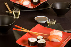 Sushi and sake Royalty Free Stock Image