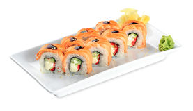 Sushi Sake Uramaki Grill Roll  plate - isolated on white Stock Images